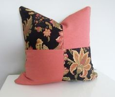 Fast Shipping! Decorative Pillow/Housewares Home Decor/Design Pillow Black Pink  Floral Pillow Four Square Pillow Oven Cotton