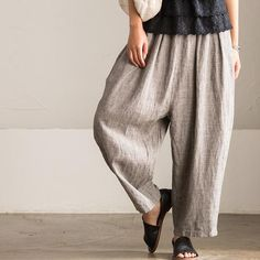 Simply Casual Linen Stripe Pants Women Trousers K8107A