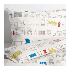 IKEA - HEMMAHOS, Duvet cover and pillowcase(s), , Made from 100% cotton, a natural material that's soft against your child's skin and gets softer with every wash.The duvet cover's colorful pattern shows classic IKEA products and is easy to combine with other textiles.