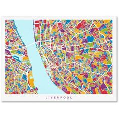 Trademark Fine Art Liverpool England Street Map 4 inch Canvas Art by Michael Tompsett, Size: 35 x 47, Blue