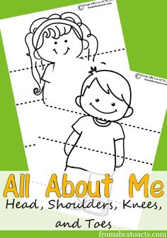 Printable head, shoulders, knees and toes activity for preschoolers.