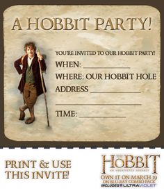 """Invite your friends to your own Bag End using a Hobbit themed Invitation! Print out multiple copies of this image, fill in the details and mail them to your party guests! If you're a """"paperless"""" fan, save the image to your computer and send it out via email."""