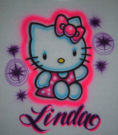 Personalized, air brished Hello t-shirt on Etsy for $18.99 Airbrush Designs, Airbrush Art, Graffiti Alphabet, Graffiti Art, Airbrush T Shirts, Baby Decor, Cute Designs, Cool Drawings, Hello Kitty