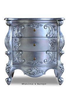 Side Table – Silver LeafNight's Dream Side Table – Silver Leaf ✔ Diy Furniture Rustic Etsy Monteleone Three Drawer Grey by French Market Collection Sanctuary Bachelors Chest How we custom paint our mirrors Rococo Furniture, Painting Wooden Furniture, Funky Furniture, Refurbished Furniture, Unique Furniture, Shabby Chic Furniture, Rustic Furniture, Furniture Makeover, Furniture Decor