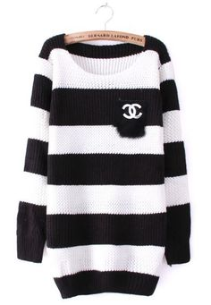 Black White Striped Long Sleeve Pocket Sweater