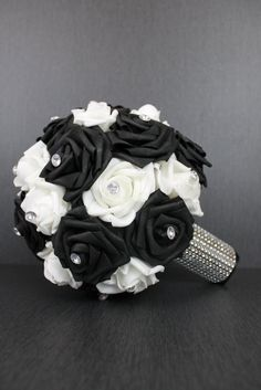 Classic Black and White Rose Wedding Bouquet Collection