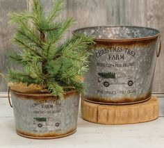 KP Creek Gifts - 2/Set, Christmas Tree Buckets. Add your own christmas tree to a galvanized bucket for the perfect holiday DIY! #DIY #holidaydecor #christmastree #treeinspiration #christmasdecor #homedecor #truckdecor #farmhousestyle #farmhousechristmas
