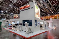 Toshiba 4 Medica in Düsseldorf, Germany Exhibition Booth Design, Exhibition Stands, Exhibit Design, Wall Of Fame, Double Deck, Stand Design, Trade Show, Deco, Showroom
