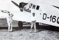 Bata Junkers D1608 airplane with Thomas Bata and his pilot Henry Brouček, ca 1930 #batashoes