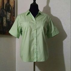 Green button-up blouse 100% cotton - fits as an XL but Chico's uses a different sizing system and has it marked as a size 3 Chico's Tops Blouses