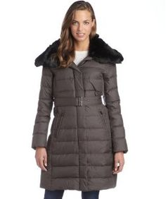 London Fogiron quilted faux fur trimmed belted down three-quarter coat 119