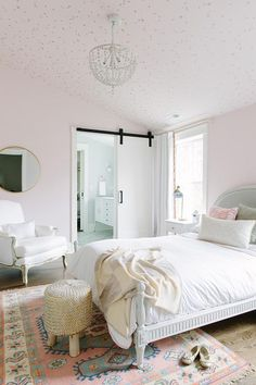 Pink Girls Bedroom with Cole and Sons Stars Wallpaper on Ceiling