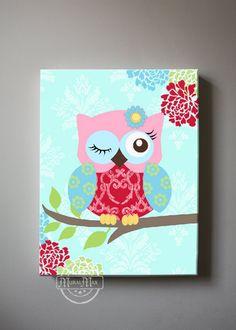 Bebé niña vivero flores decoración rosa y Aqua buho por MuralMAX