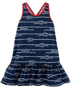 NWT Ralph Lauren Girls Printed Nautical Ruffle Sleeveless Tank Dress #RalphLauren #DressyEveryday