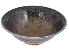 Pale Blue and Earthen Sand Crackle Japanese Shallow Dinnerware Serving Bowl