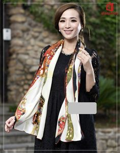Real Silk Made Scarf, Shawl, Wrap, Long Length, Print, Women, Fashion, Hot Sale Real Natural Silk Made