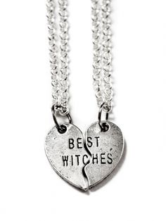 "Magick Wicca Witch Witchcraft:  ""Best #Witches Heart"" Necklaces, by Couture By Lolita (Silver)."