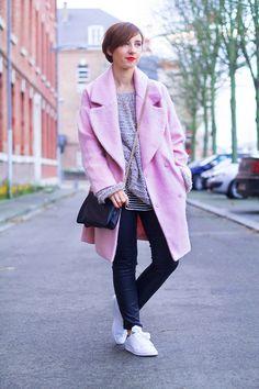 Le manteau rose Look femme ♥