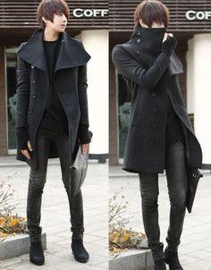 4 Size Men's New Stylish Korean Style Big Lapel Winter Cool Long Overcoat Jacket