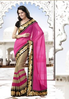 Half and half pink and chikoo shaded with golden border #designersaree