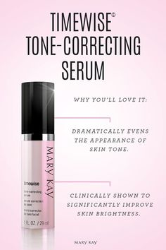 TimeWise Tone-Correcting Serum Dramatically evens the appearance of skin tone and is clinically shown to significantly improve skin brightness. Features a first-ever brightening breakthrough in our patent-pending Perfectly Bright Complex. 95% of women experienced the look of dark spots reduced after 12-weeks.