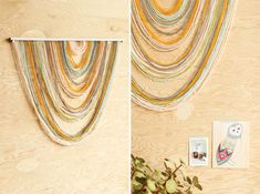 DIY Wall Tapestry hot glue yarn to a dowel stick. Draw line on back of stick before starting. Photo backdrop, dessert or gift table decor on wall
