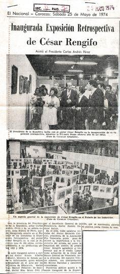 Inaugurada exposición retrospectiva de César Rengifo. Publicado el 25 de mayo de 1974.