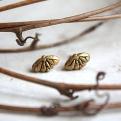 Little Gold Moth Earrings  Tiny Butterfly Studs  by GwydionsGarden