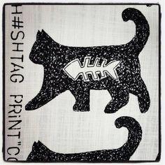 "H Print called ""Cool Cat"". Sam Cross, Cross Art, Cool Cats, Printing On Fabric, Cool Stuff, Fun, Character, Fabric Printing, Lettering"