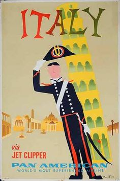 DP Vintage Posters - Original Vintage Pan Am Airlines Vintage Travel Poster Italy By Jet Clipper Pisa Tower