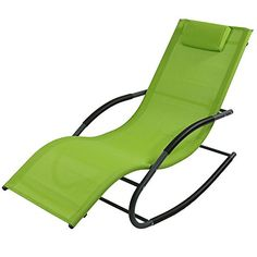 Sunnydaze Rocking Wave Lounger w/ Pillow - Multiple Options (set of 1 - Green), Patio Furniture (Foam) Patio Chairs, Outdoor Chairs, Outdoor Furniture, Lounge Chairs, Thing 1, Outdoor Lounge, Outdoor Living, Black Decor, Chairs