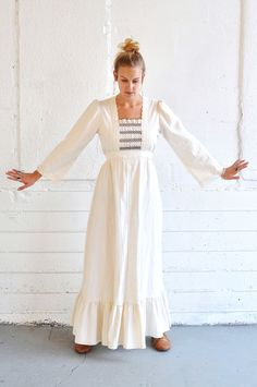 Vintage 1970s Beautiful Prairie Dress in Off White Linen. $80.00, via Etsy.