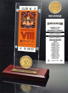 Super Bowl 8 Ticket & Game Coin Collection