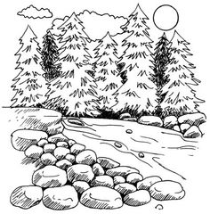 A mountain stream meets a cluster of majestic pines. Learn to draw the beautiful mountain stream landscape in five steps. Doodle Drawings, Easy Drawings, Drawing Sketches, Pencil Drawings, Drawing Ideas, Dragon Drawings, Sketching, Landscape Drawings, Landscape Art