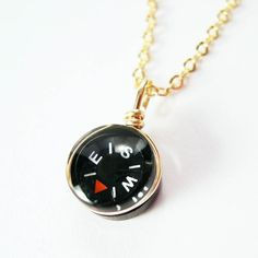 Tiny Compass Gold Necklace  Micro Black by YOUgNeek on Etsy, $14.99