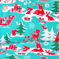 Christmas Fabric Aqua Yule Critters by Michael Miller
