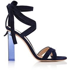 Gianvito Rossi Women's Suede Ankle-Tie Sandals featuring polyvore, women's fashion, shoes, sandals, colorless, ankle tie sandals, ankle wrap sandals, wrap sandals, high heel shoes and navy sandals