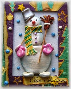 Снеговик из соленого теста.