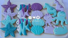 Unther the sea sugar cookies Mermaid Theme Birthday, Little Mermaid Birthday, Little Mermaid Parties, First Birthday Parties, 2nd Birthday, Sirenita Cake, Starfish Cookies, Summer Cookies, Mermaid Cakes