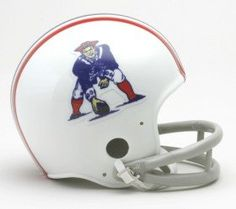 New England Patriots 1965-81 Replica Mini Helmet  https://allstarsportsfan.com/product/new-england-patriots-1965-81-replica-mini-helmet/  VSR4 style shell Interior padding 5 inches tall