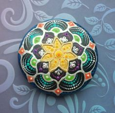 Painted-dotart-mandala-stone-dotted-rock-handpainted-decoration-spiritual-gift