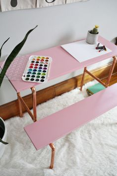 Children's Copper Desk DIY: possibly use this same method to make a console table Diy Kids Furniture, Furniture Makeover, Home Furniture, Office Furniture, Kids Decor, Diy Home Decor, Decor Ideas, Boy Decor, Nursery Decor