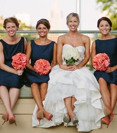 Coral and navy wedding ideas. Perfect coral and navy bridesmaid dresses by Alfred Sung, Dessy Collection and Joanna August.