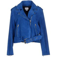 Club Monaco Jacket ($560) ❤ liked on Polyvore featuring outerwear, jackets, blue, coats & jackets, club monaco jacket, leather biker jacket, blue biker jacket, long sleeve jacket and blue jackets