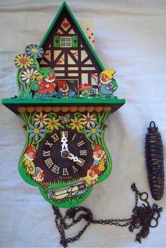 Antique Black Forest Cuckoo Clock with Gnomes and by serine23.