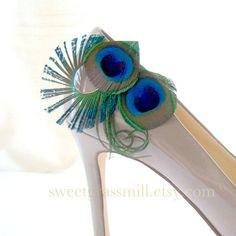 Peacock Shoe Clips - CONTESSA Shoe Clips