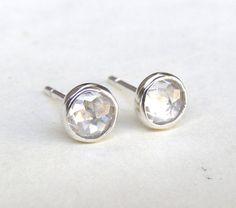 Diamond Earrings studs silver sterling Earrings 5mm by OritNaar, $49.00