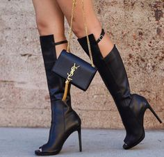 Elly Black Leather Boots