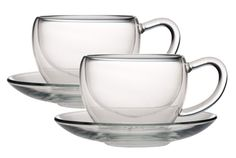 Double Walled Glass Cup+Saucer