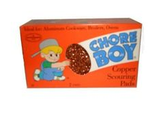 Chore Boy Copper Scouring Pads 2/pk by Airwick Industries. $2.00. Ideal for: Stainless Steel and Aluminum Cookware, Stove Tops, Broiler Pans, Baking Trays, and Barbeque Grills. 2 Pads per Box.